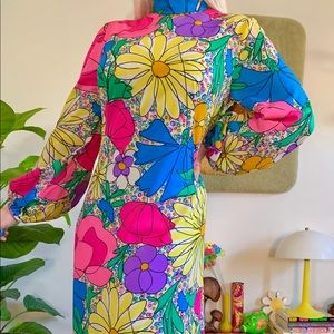 1970s mr blackwell bold floral jersey maxi gown